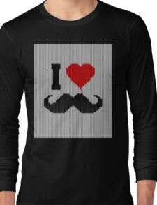 I Love Mustache in Knitting Motif Style Long Sleeve T-Shirt