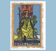 Queen Of Wands Tarot Card Blue by designsbycclair
