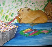 Beav. loves his water colors by Nora Fraser
