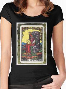 Queen Of Pentacles Tarot Card Fortune Teller Women's Fitted Scoop T-Shirt
