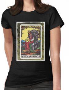Queen Of Pentacles Tarot Card Fortune Teller Womens Fitted T-Shirt