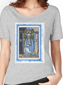 High Priestess Blue Tarot Card Fortune Teller Women's Relaxed Fit T-Shirt