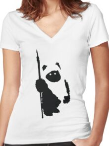 Ewok Silhouette Women's Fitted V-Neck T-Shirt