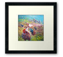 Farm Yard Chickens Framed Print