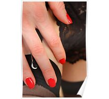 red fingernails, black wine Poster