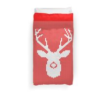 Deer Silhouette in Christmas Ugly Sweater Knitting Duvet Cover