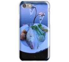Fresh fish catch on a plate with vegetables iPhone Case/Skin