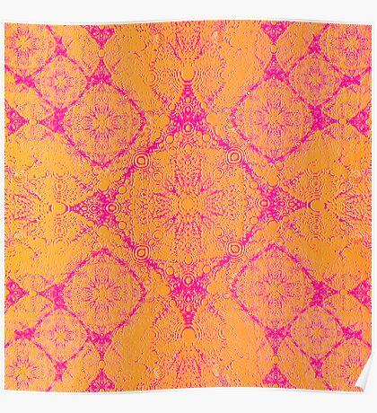 Iridium Atoms Orange Pink Poster