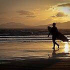 Surfer at Sunset by AlexSaunders