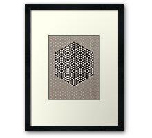 Silicon Atoms HyperCube Black White Framed Print