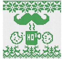 Santa's Stache Over Green Midnight Snack Knit Style Photographic Print
