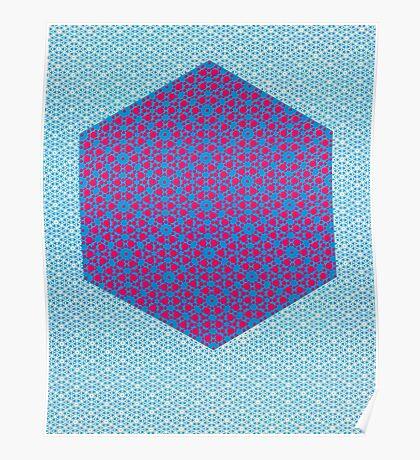 Silicon Atoms HyperCube Blue Pink Poster