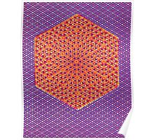 Silicon Atoms HyperCube Purple Orange Poster