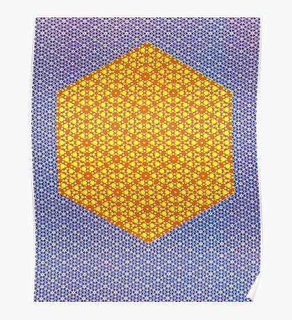 Silicon Atoms HyperCube Blue Orange Poster