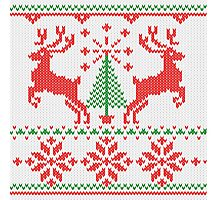 Holidays White Knit Ugly Christmas Sweater Ho Deer Photographic Print