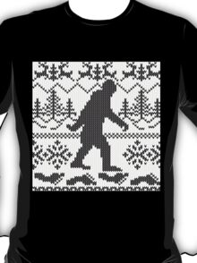 Gone Squatchin Ugly Christmas Sweater Knit Style T-Shirt