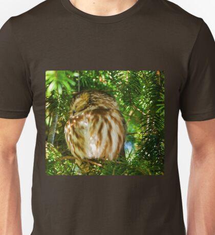 Sleepy Saw-whet Owl on a Sunny Afternoon Unisex T-Shirt