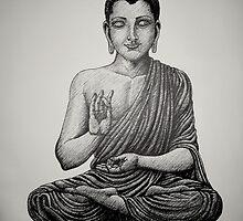Buddha pen drawing black/white by JackassKershaw