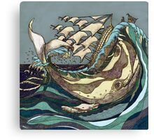 Leviathan Strikes - Whale, Sea and Sailing Ship Canvas Print