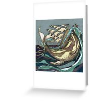 Leviathan Strikes - Whale, Sea and Sailing Ship Greeting Card
