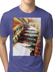 Stairs with messages. Tri-blend T-Shirt