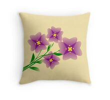 Mauve flowers on a beige background Throw Pillow