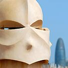 Chimney on Casa Mila with Torre Agbar, Barcelona by Petr Svarc