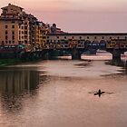 Impressions Of Florence - Ponte Vecchio Rowing In Pink by Georgia Mizuleva
