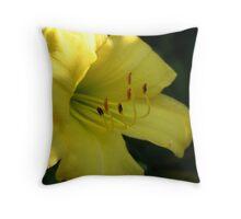 Yellow Lily Close up - Original Fine Art Photograph Throw Pillow