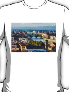 Impressions Of Florence - Arno River And The Bridges From Above T-Shirt