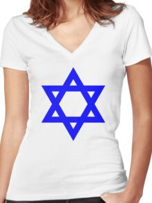 Star of David, blue and thick Women's Fitted V-Neck T-Shirt