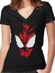 Spiderman Splatter Women's Fitted V-Neck T-Shirt