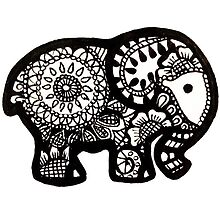 Cute Henna Elephant by Evelyn Cook
