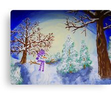 Moonlit Snowman Canvas Print