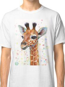 Baby Giraffe Watercolor Painting, Nursery Art Classic T-Shirt