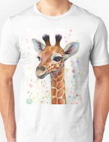 Baby Giraffe Watercolor Painting, Nursery Art Unisex T-Shirt