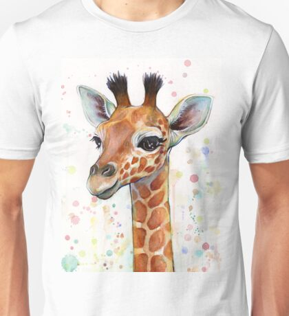 Baby Giraffe Watercolor Painting, Nursery Art Unisex T-Shirt
