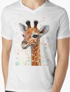 Baby Giraffe Watercolor Painting, Nursery Art Mens V-Neck T-Shirt