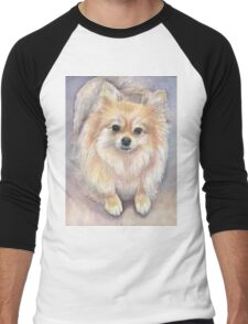 Pomeranian Watercolor Men's Baseball ¾ T-Shirt