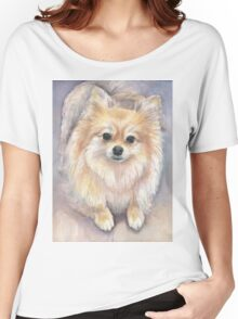 Pomeranian Watercolor Women's Relaxed Fit T-Shirt