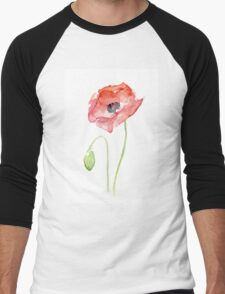 Red Poppy Watercolor Floral Painting  Men's Baseball ¾ T-Shirt
