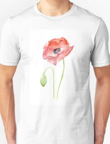 Red Poppy Watercolor Floral Painting  T-Shirt
