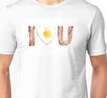 I Love Bacon and Egg Whimsical Watercolor Illustration Unisex T-Shirt