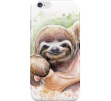 Baby Sloth Watercolor Painting, Cute Baby Animals Print iPhone Case/Skin
