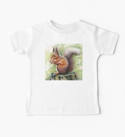 Squirrel Watercolor Painting, Forrest Animal Baby Tee