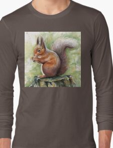 Squirrel Watercolor Painting, Forrest Animal Long Sleeve T-Shirt