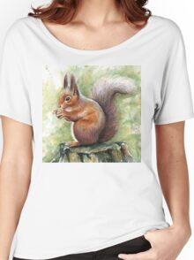 Squirrel Watercolor Painting, Forrest Animal Women's Relaxed Fit T-Shirt