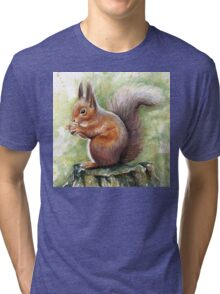 Squirrel Watercolor Painting, Forrest Animal Tri-blend T-Shirt