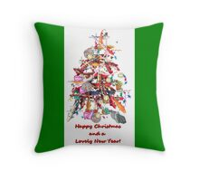 KOI Tree Chirstmas Card  Throw Pillow