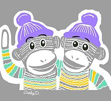 Grey, Mint, Yellow, and Purple Sock Monkeys by AbigailDavidson